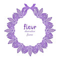 Watercolor floral wreath with lilac flower. Invitation, Greeting card background Royalty Free Stock Photo
