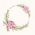 Watercolor floral wreath with succulents, green leaves and branches.