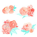Watercolor flower bouquet vector. Watercolor floral set
