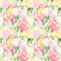 Watercolor flower floral peony rose seamless pattern textile background