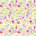 Watercolor flower pattern. Seamless pattern. Bright flowers, greens, sunny print. Textile design. Wrapping paper, gift wrapping.