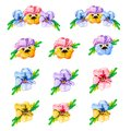 Watercolor flower set, hand drawn illustration of pansies, colorful floral elements isolated on white background. Yellow,pink,red, Royalty Free Stock Photo