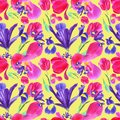 Watercolor iris, tulip and leaves seamless pattern on yellow background