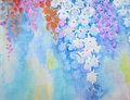 Watercolor flowers painting original realistic colorful  of orchid flowers Royalty Free Stock Photo