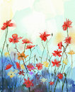 Watercolor flowers painting.Spring floral nature