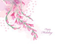 Watercolor flowers pink wisteria card