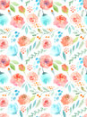 Watercolor flowers. Seamless pattern. Cute roses