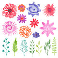 Watercolor flowers set. Colorful flowers, leaves and branches