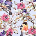 Watercolor flowers, willow with bird Bullfinch. Floral seamless pattern on a blue background.