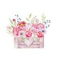Watercolor flowers wooden box. Hand-drawn chic vintage garden ru