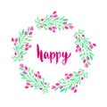 Watercolor flowers wreath. Hand painted wedding or greeting card decoration. Happy woman day. Royalty Free Stock Photo