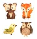 Watercolor forest animal children illustration