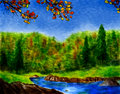 Watercolor Forest In Autumn Royalty Free Stock Image