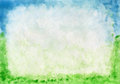 Watercolor frame grass and sky. mage from outdoor background series (sky and grass) Royalty Free Stock Photo