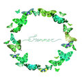 Watercolor frame with the image of transparent butterflies in green and blue color Royalty Free Stock Photo