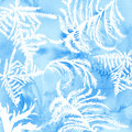 Watercolor frost texture with hand drawn frozen tracery. Blue winter background
