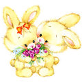 Funny bunny and flowers illustration. watercolor drawing.