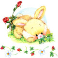 Watercolor Funny bunny. Toy bunny.  background for kid.