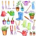 Watercolor garden doodle set