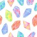 Watercolor gem seamless pattern