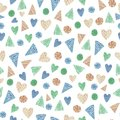 Watercolor geometric seamless pattern. For child design, card, print or background