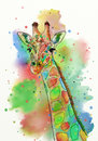 Watercolor giraffe
