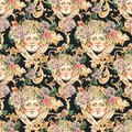 Watercolor golden baroque angel seamless pattern with hydrangea and wildflowers, rococo ornament Royalty Free Stock Photo
