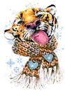 Watercolor golden fleur-de-lis pattern. Royal Gold lily. ermine tails seamless illustration.cute tiger in a knitted hat with snowf