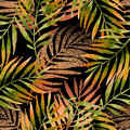 Watercolor and golden graphic palm leaf seamless pattern. Royalty Free Stock Photo
