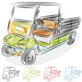 Watercolor Golf Cart Stock Photo