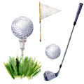 Watercolor golf elements set. Golf illustration with tee, golf club, golf ball, flagstick and grass isolated on white Royalty Free Stock Photo