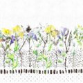 Watercolor And Graphic Bellflower Daisy Weed Meadow And Ink Flower Seamless Pattern Water Color