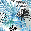 Watercolor graphical illustration: tropical leaves, doodle elements on grunge background.