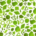Watercolor green abstract shapes seamless pattern