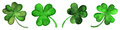 Watercolor green clover shamrock border set isolated
