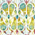 Watercolor green ikat vibrant seamless pattern. Trendy tribal  in watercolour style. Peacock feather. Royalty Free Stock Photo