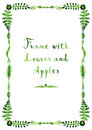 Watercolor green leaves and apples vector frame vertical with handwritten text Stock Photo