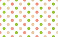 Watercolor green, pink and beige polka dot background. Royalty Free Stock Photo