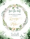 Watercolor greenery color wedding invitation card with green and gold elements. paper texture with floral and leaves Royalty Free Stock Photo