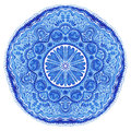 Watercolor gzhel doily round lace pattern circle background wi with many details looks like crocheting handmade lacy arabesque Royalty Free Stock Photos