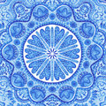 Watercolor gzhel doily round lace pattern circle background wi with many details looks like crocheting handmade lacy arabesque Stock Image