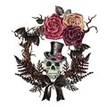 Watercolor Halloween frame with watercolor creepy skull in top hat, dark burgundy roses, bats, dead tree branches on white Royalty Free Stock Photo