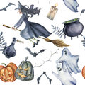Watercolor Halloween seamless pattern. Hand painted Halloween symbols on white background. Pumpkins, witch hat, candy