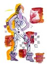 Watercolor hand drawn abstract woman in checker clothes standing at the checkered squares background Royalty Free Stock Photo