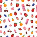Watercolor hand drawn berries and sweets seamless pattern. Painted isolated fruit and sweet illustration on white background.