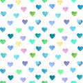 Watercolor hand drawn bright and colorful hearts seamless pattern