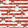 Watercolor hand drawn Christmas seamless pattern with snowman, deer in a red sweater and colorful bear on red-white striped Royalty Free Stock Photo