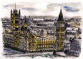 Watercolor hand drawn colorful illustration of London city