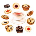 Watercolor hand drawn cup of black tea illustration set with different kind of cookies and muffins isolated on white
