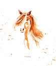 Watercolor hand drawn illustration of cute horse. Royalty Free Stock Photo